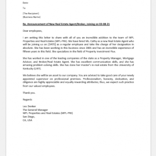 Announcement Letter for Real Estate Agent
