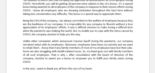 Bonus Letter to Employees during COVID