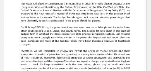 Change in pricing policy letter