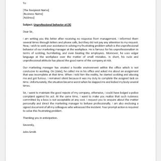 Complaint Letter for Unprofessional Behavior of Manager