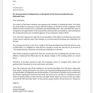 Holiday bonus letter to employees