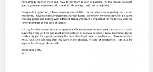 Leave application letter for death of grandmother