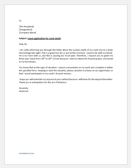 Leave application letter for death of uncle