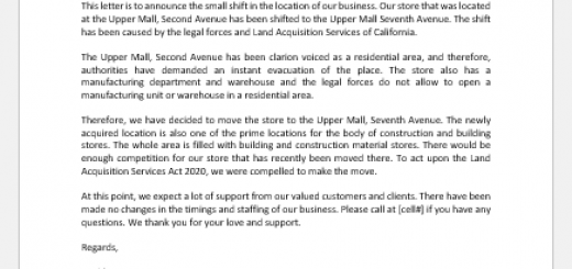 Letter Announcing Relocation of Office