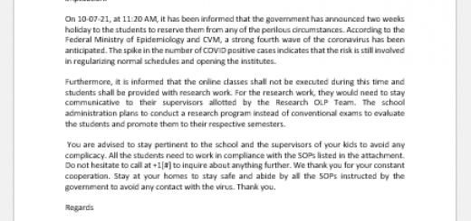 Letter informing parents of school closing for two weeks