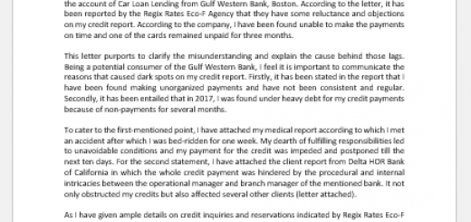 Letter of Explanation for Credit Inquiries