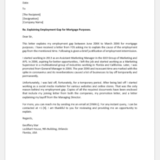 Letter of explanation of employment gap