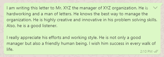 Letter of gratitude and appreciation to manager