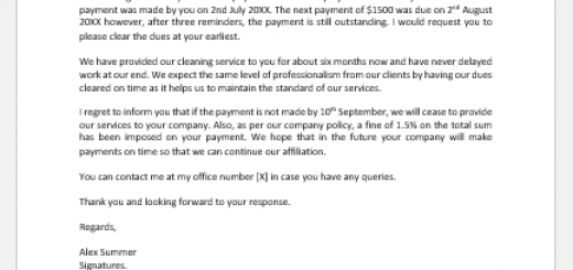 Angry Letter for Outstanding Payment