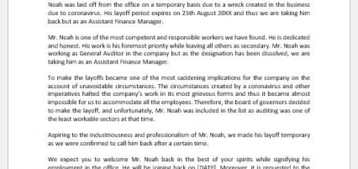 Announcement Letter of Return of Former Employee