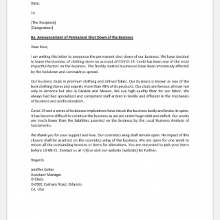 Announcement letter for closing business