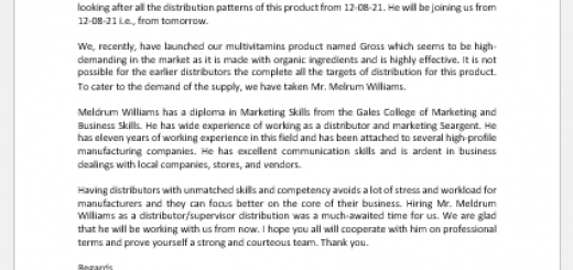 Announcement letter of new distributor