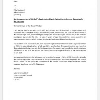 Death announcement letter to church