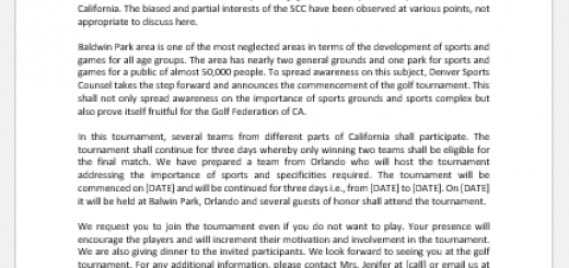 Golf tournament announcement letter