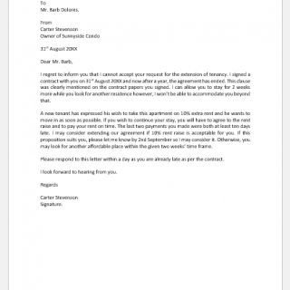 Letter of Rejection of Extension of Tenancy