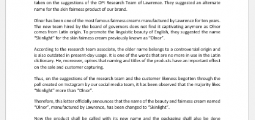 Product name change announcement letter