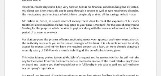 Recommendation Letter to Bank for Loan Approval -1