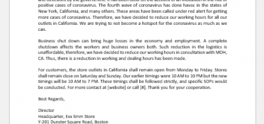 Reduced hours announcement letter