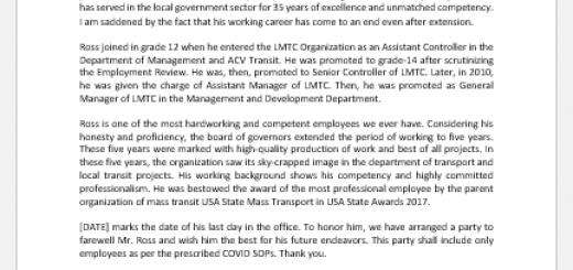 Retirement announcement letter