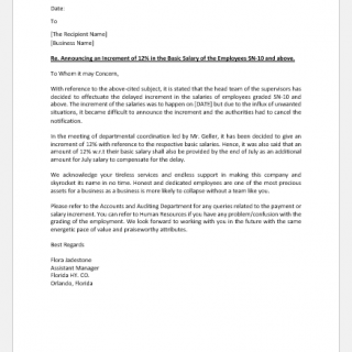 Salary increases announcement letter