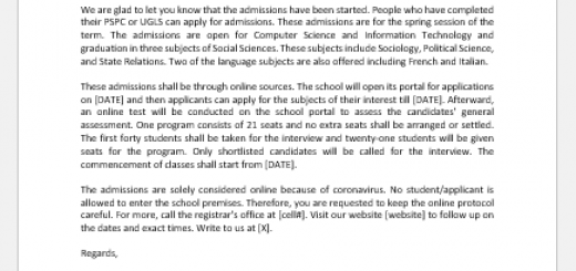 School Admission Announcement Letter