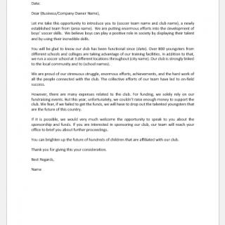 Sponsorship Request Letter for Soccer Team