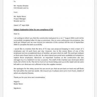 Explanation letter for non-compliance