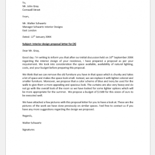 Interior design proposal letter to client
