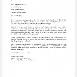 Leave letter to school for not feeling well