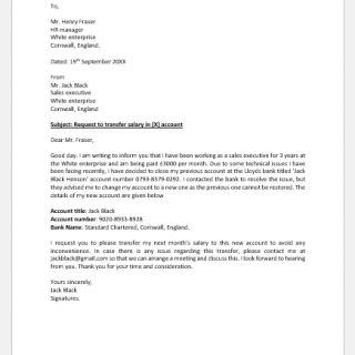 Letter to HR to Transfer Salary in Another Account
