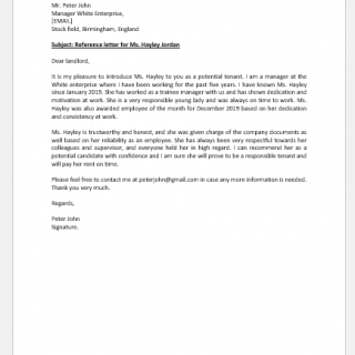 Reference Letter for Renting an Apartment