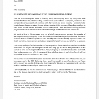 Resignation letter due to business opportunity