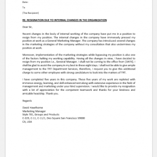Resignation letter due to company changes