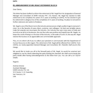 Retirement announcement letter to client
