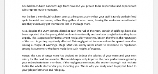 Salary deduction letter to customer service manager at a mart
