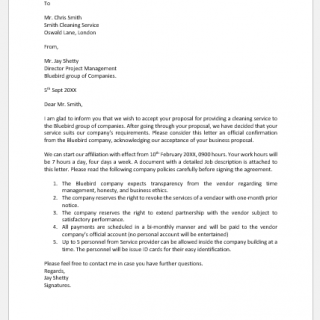 Vendor proposal acceptance letter