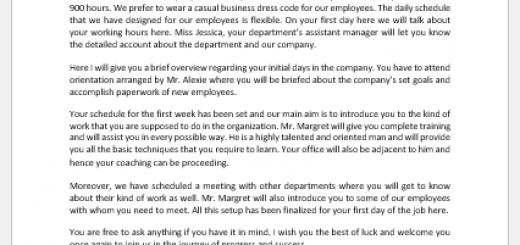 Welcome Letter to New Employee by Manager