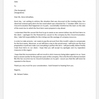 Apology letter to boss for miscommunication