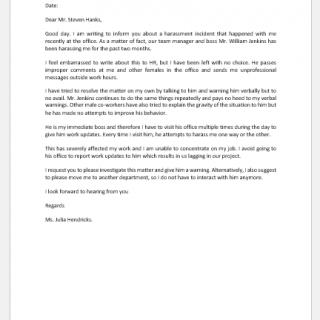 Complaint Letter against Boss for Harassment