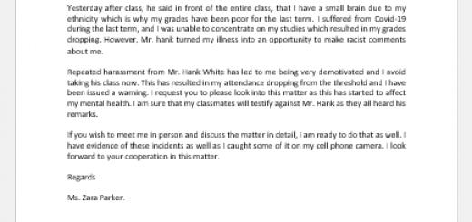 Complaint Letter against College Professor for Harassment