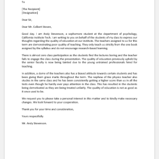 Complaint Letter to Dean of University for Quality of Education