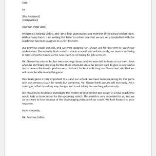 Complaint Letter to Principal about Coach