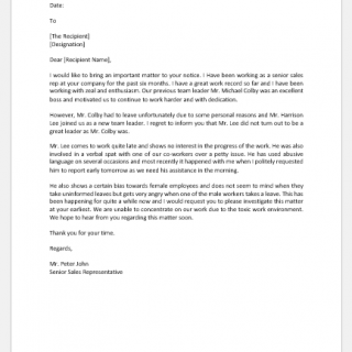 Complaint letter about employee attitude
