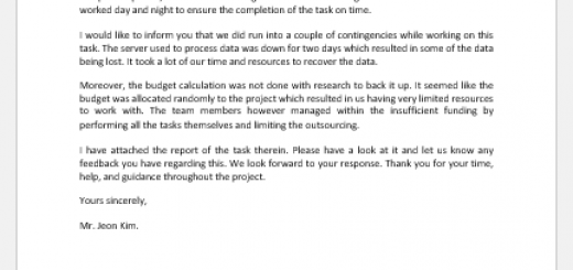 Email to manager for task has been completed successfully