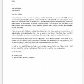 Letter to boss to remind salary is due
