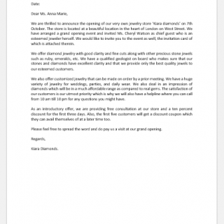 New store opening announcement letter