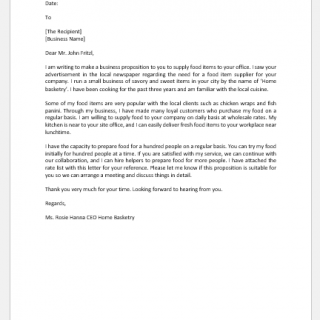 Proposal Letter to Supply Food to Office