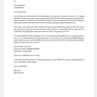 Request letter to company to clear dues