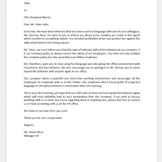 Warning Letter for Using Foul Language at Workplace